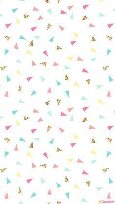 Pink mint turquoise gold mini triangle confetti iphone phone wallpaper background lockscreen: