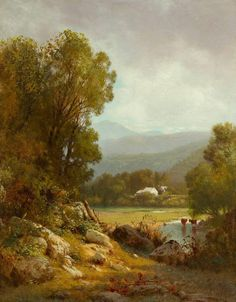 A second-generation Hudson River School painter known for his pastoral and cattle scenes I. Classic Artwork, Classic Paintings, Abstract Landscape, Landscape Paintings, Wooded Landscaping, Winter Painting, Amazing Paintings, Classical Art, Landscape Illustration