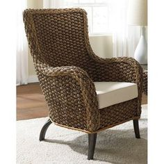 Hospitality Rattan Cozmel Full Frame Wicker Lounge Chair with Cushions - Antique