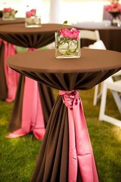 Fantastic Color Palette for Chocolate Cocktail Table with Coral Sash Tie