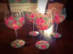 """Custom Hand Painted Wine Glass, """"Lilly Pulitzer"""" Inspired Design, Set of Four Glasses on Etsy, $98.00"""