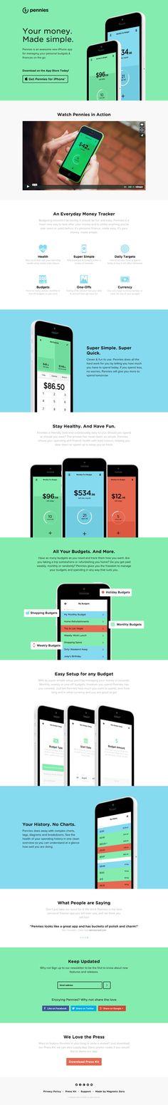 iPhone向けの資金管理のアプリの紹介サイト。 パステル調の色使いと、フラットデザインが美しいです。もちろんレスポンシブWEBデザイン対応。