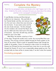 Fourth Grade Comprehension Composition Vocabulary Worksheets: Fourth Grade Reading Practice: Complete the Mystery