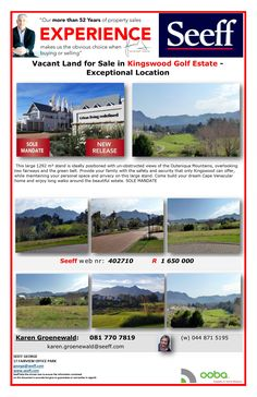 #seeff #newllisting #golf #estate #george #forsale #property #gardenroute #westerncape Vacant Land for Sale in Kingswood Golf Estate - Exceptional Location. http://www.seeff.com/Details?webref=402710