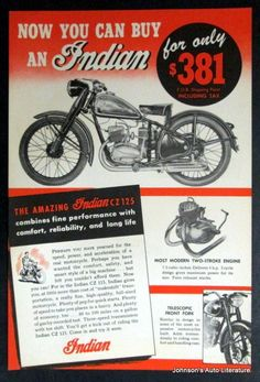 Indian CZ 125 Motorcycle Sales Brochure