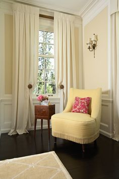 Inverted Pleat Drapes- create a contemporary look. The slight puddle softens the feel of the space.