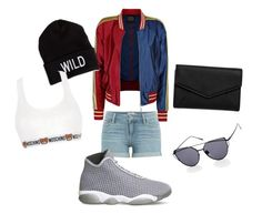 """roooockkk"" by itstyrell on Polyvore featuring Paige Denim, NIKE, LULUS, American Eagle Outfitters and Moschino"