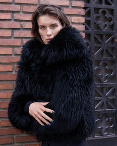 Marte Mei by Sonia Sieff (Harper's Bazaar España) Sheepskin Jacket, Check Coat, Harpers Bazaar, Fox Fur, Fashion Art, Poses, How To Wear, Black, Van