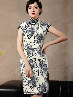 Blue Floral Short Mulberry Silk Cheongsam / Qipao Dress