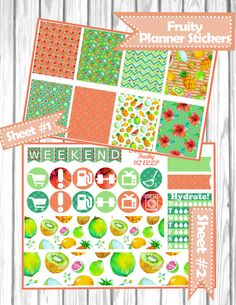 Fruity mini KIT Planner Stickers for Erin Condren, Happy Planner, Filofax, kikki.K, etc.