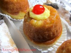 Italian Food -ricette recipes sweets pastry - Rum Babas filled with Italian Pastry Cream