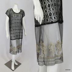 Vintage 1920s Lace Chemise Dress Tulle Skirt Metallic Embroidered Flowers M-XL #Flapper http://stores.ebay.com/mmmosts-Old-time-Stuff-and-Threads