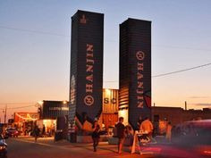 Granary Row is a pop-up market and festival space made from recycled shipping containers that is located in the middle of the street in Salt Lake City's largely vacant, industrial Granary District.
