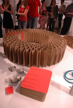 Sliceform: a cardboard bench composed of 80 identical cardboard cutouts, cheap to produce, easy to assemble. Designer: Elise Vigneault, professor: Patrick Evans.