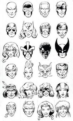 """Headshots of all the X-Men members from the OG 5 up to the """"Outback X-Men"""" Australian era (minus Dazzler) by Alan Davis"""