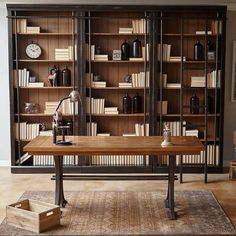 Tuscan Bookcase Wall, Ladder and Writing Desk – Modern Home Office Design Home Office Design, Home Office Decor, House Design, Home Decor, Office Designs, Office Ideas, Masculine Office Decor, Office Table, Martin Furniture
