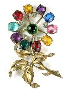 Jewel Tones Flower and Leaf Design Large Brooch   Offered by Ruby Lane Shop Anna's Vintage Jewelry