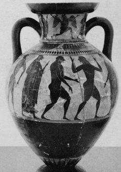 Affecter (fl. c. 550 - 530/520 BCE), Museo Nazionale Tarquiniese, Tarquinia 629 (543/542-525 = 560-525, 550-500 BCE; excavated at Tarquinia, Etruria, Italy). Black-figure neck-amphora. Side A-B