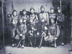 The Charleston Zouave Cadets of the Confederate Army. They carry US Model 1841 Mississippi Rifles; considered the most beautiful of the US  martial arms. c.1861