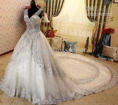 2013 Ivory A-line V-neck Tulle+Lace Bling Bling Crystals 2 Layered Train cathedral Wedding Dresses