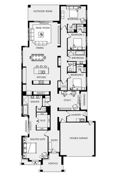 Metricon do great floor plans for those who have a suburban size block. I don't mind their plans at all… Great use of space if you have a narrow block. I really liked this one because it has some clever master bedroom features, a cute verandah off the stu Floor Plan 4 Bedroom, 4 Bedroom House Plans, Garage House Plans, Bungalow House Plans, Cottage House Plans, New House Plans, House Floor Plans, The Plan, How To Plan