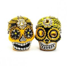 Yellow  Black Skull Day of Dead Wedding Cake Topper Handmade 00143 - Unusual but cool