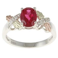 Black Hills Gold and Sterling Silver Created Ruby and Diamond Accent Ring | Overstock.com Shopping - Top Rated Black Hills Gold Gemstone Rings