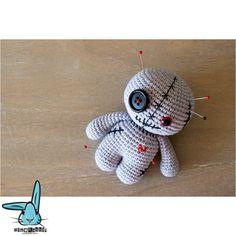 Green and grey amigurumi voodoo doll crochet by BlueRabbitLV