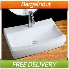 RECTANGLE BATHROOM BASIN SINK COUNTER TOP CERAMIC CLIPPER-BUILT MODERN   eBay £39.99