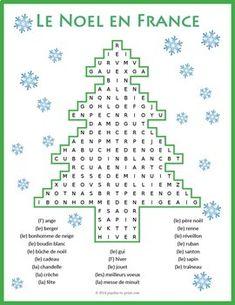 A fun word search puzzle for the holiday season featuring French Christmas vocabulary. Students must look in all directions (including diagonally and backwards) to find the 22 words associated with Noel. Christmas Word Search, Christmas Puzzle, Christmas Words, French Flashcards, French Worksheets, Worksheets For Kids, Noel French, French Christmas, Christmas Worksheets