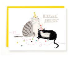 Birthday Party Balls - Birthday Cat Card