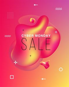 Banner of sales. black friday, cyber monday and autumn sale. liquid colorful shapes. abstract modern graphic elements on the dark. Download it at freepik.com! #Freepik #vector #banner #sale #abstract #light Price Tag Design, Ribbon Banner, Cyber Monday Sales, Sale Banner, Text Effects, Sale Poster, Banner Template, Motion Design, Graphic
