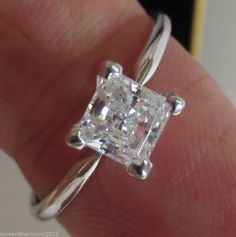 1.50 cts Princess Brilliant cut Solitaire Engagement Ring 14K solid White Gold