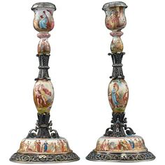 For Sale on - Splendid continuous hand-painted scenes adorn these graceful and rare Viennese silver and enamel candlesticks. Adorned with scenes of gods and goddesses Rococo Furniture, Silver Candlesticks, Antiques Online, Candle Shop, Objet D'art, Silver Enamel, Rare Antique, Decorative Objects, Art Decor