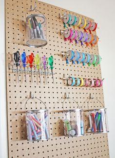 Pegboard Craft Room Storage Idea for ommagom Craft Room Storage, Pegboard Craft Room, Sewing Room Storage, Sewing Room Organization, Sewing Rooms, Organization Ideas, Storage Ideas, Studio Organization, Storage Units