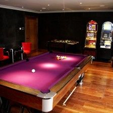 A luxury games room in Hertfordshire showcasing a bespoke copper pool table. Luxury Interior Design, Interior Design Inspiration, Games Room Inspiration, Game Room Design, Pool Table, Man Cave, Gaming Rooms, Bespoke, Basement