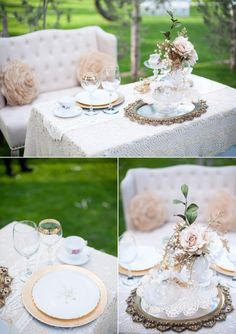 Super romantic sweetheart table. Nicer to have a love seat than 2 chairs :)