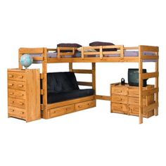 Woodcrest Heartland Futon Bunk Bed with Extra Loft Bed - Loft Beds at Simply Bunk Beds