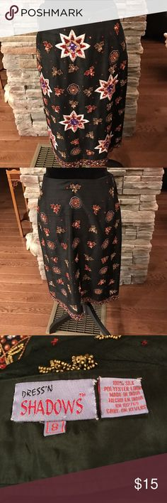 Gorgeous silk skirt Gorgeous silk skirt with beautiful sequin embroidery.  They Ross some sequins that are missing. I am selling this in as is condition. The length of the skirt is 25 1/2 inches, and the waist is 26 inches. It is absolutely gorgeous! Pja8 Skirts Midi
