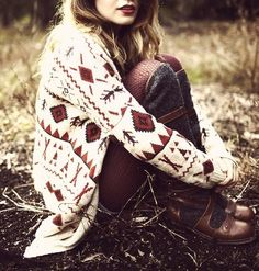 I adore the sweater!!! An amazing focal point of her outfit. It might be fun to do a winter woodsy photoshoot in something like this