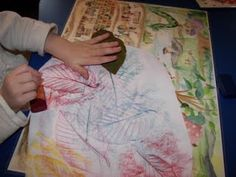 Autumn leaf rubbing--a craft we will have to try.