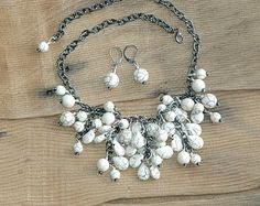 Bib Necklace & Earrings, Gemstone, Chain, Handmade, white turquoise, magnesite, teardrop, bubble, Statement Necklace, Arcturus Creations