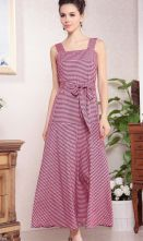 Pink Straps Sleeveless Grid Belt Maxi Dress $55.16
