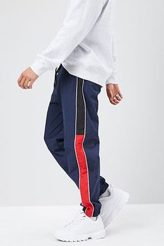 Product Name:Colorblock Piped-Trim Joggers, Category:Sale, Fleece Joggers, Sweatpants, Shop Forever, Forever 21, Pyjamas, Color Blocking, Latest Trends, 21st, Leggings