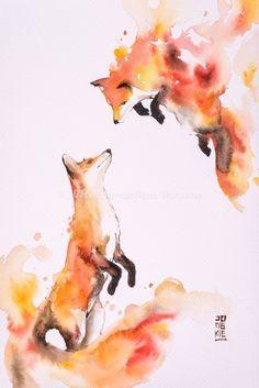 Image of Hot Love by Luqman Reza Mulyono (Jongkie) - foxes watercolor, fox art Animal Paintings, Animal Drawings, Cool Drawings, Animal Illustrations, Painting & Drawing, Watercolor Paintings, Watercolor Drawing, Fox Painting, Animal Watercolour