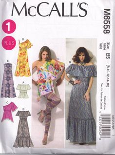 McCalls 6558 Hippy Boho Peasant Maxi Dress Off by PeoplePackages, $6.00