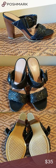 NWOT-CALVIN KLEIN BLK LEATHER WOVEN SANDALS NWOT-CALVIN KLEIN BLK LEATHER WOVEN SANDALS.  Size 6 Calvin Klein Shoes Heels