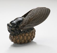 Hokufu (Japan)   Cicada on Pine Cone, late 19th century  Netsuke, Wood with lacquer, staining. LACMA