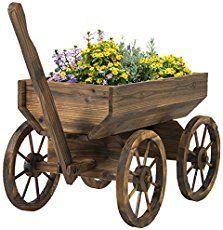 Garden Wagon Planter Rustic Wood Patio Cart Yard Flower Portable Outdoor Decor for sale online Backyard Planters, Wooden Garden Planters, Flower Planters, Garden Cart, Garden Junk, Garden Wagon, Wagon Wheel Bench, Wagon Wheel Decor, Wooden Wagon Wheels