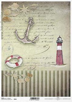Papier ryżowy R941 - motywy marynistyczne; kotwica, latarnia morska